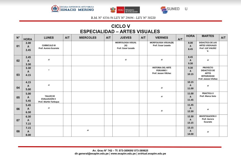 CICLO V ESPECIALIDAD ARTES VISUALES
